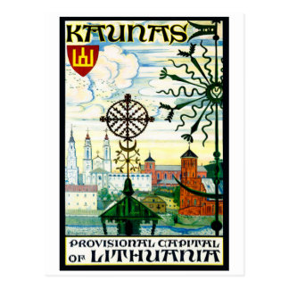 Vintage postcard for Kaunas, Lithuania
