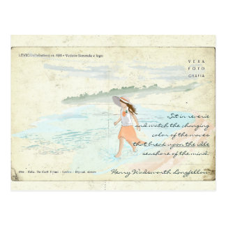 Vintage Postcard Girl Wading into Water