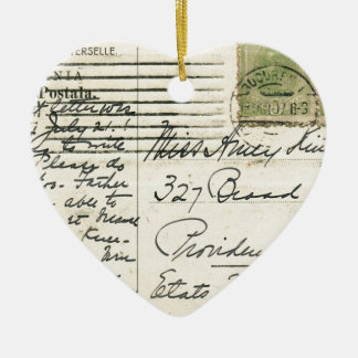 Vintage postcard mailed from Romania to USA Ceramic Ornament