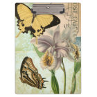 Vintage Postcard with Butterflies and Flowers Clipboard
