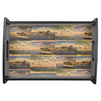 "Vintage Postcards ""Kelley's Island"" Serving Tray"