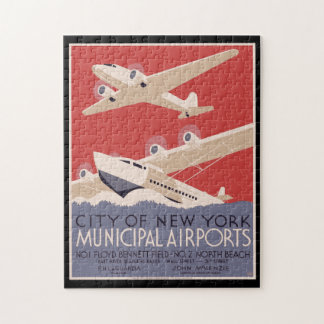 Vintage Poster City of New York Municipal Airports Jigsaw Puzzle