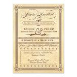 "Vintage Poster Cream, Brown Reception Only Wedding 5.5"" X 7.5"" Invitation Card"