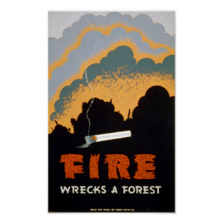 Vintage Poster Fire Wrecks a Forest - POSTER