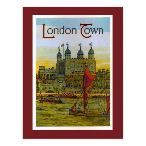 Vintage poster, London Town, Thames barge Post Cards