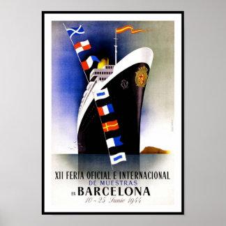 Vintage Poster Print Barcelona Spain Ship