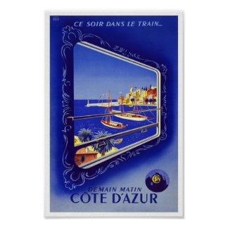 Vintage Poster Print Côte d'Azur Train France