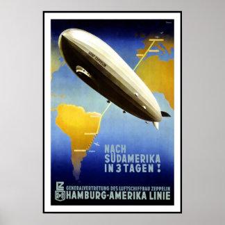 Vintage Poster Print Hamburg Amercia AirShip