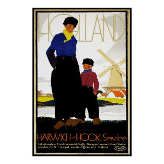 Vintage Poster Print Holland Windmill