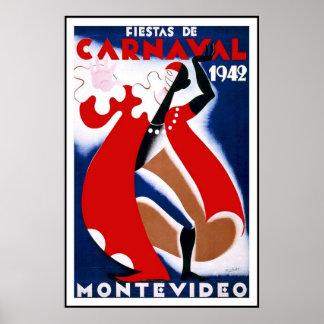 Vintage Poster Print Montevideo Uruguay Fiestas