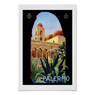 Vintage Poster Print Palermo Sicily