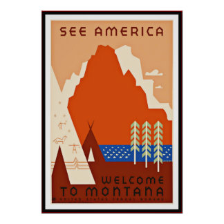 Vintage Poster Print See Amercia Montana large