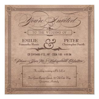 """Vintage Poster Rustic Cocoa Wedding & Reception 5.25"""" Square Invitation Card"""