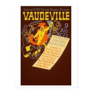 Vintage Poster Vaudeville Illustration Postcard