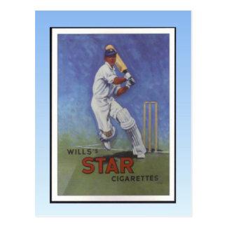 Vintage poster, Wills Star cigarettes, Cricketer Postcard