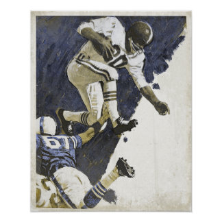 Vintage Poster with Action Packed Football Print