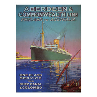 Vintage Poster with Old Shipping Line Print