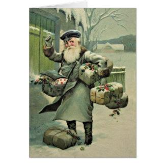 Vintage Postman Santa Christmas Custom Card