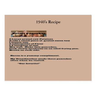 Vintage Potato Pancake Recipe Postcard