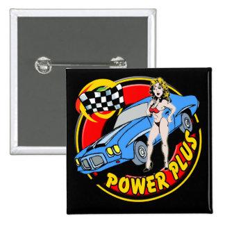 Vintage Power Plus Retro Muscle Car 2 Inch Square Button
