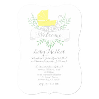 vintage pram BABY SHOWER gender neutral invitation