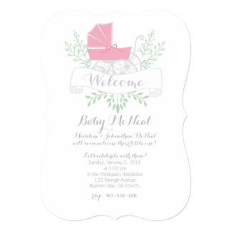 vintage pram BABY SHOWER pink invitation