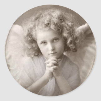 Vintage Praying Angel Girl Classic Round Sticker