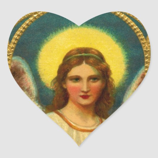 Vintage Praying Angel Red Yellow Heart Sticker