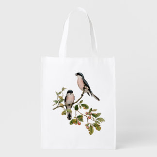 Vintage Pretty Birds on a Branch Reusable Grocery Bag