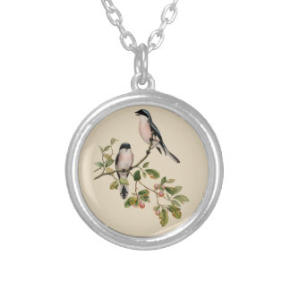 Vintage Pretty Birds on Beige Silver Plated Necklace