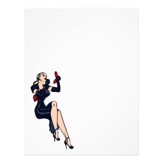 Vintage Pretty Blonde Retro Glamor Girl Pinup Letterhead