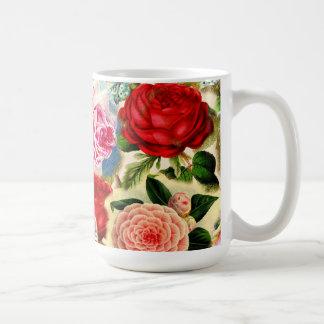 Vintage Pretty Chic Floral Rose Garden Collage Basic White Mug
