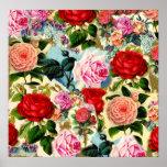 Vintage Pretty Chic Floral Rose Garden Collage Poster