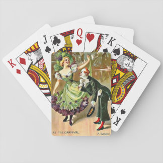 Vintage Pretty Dancing Girl and Clown at Carnival Playing Cards