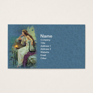Vintage Pretty Fairy Fae Harp Candle Ocean Business Card