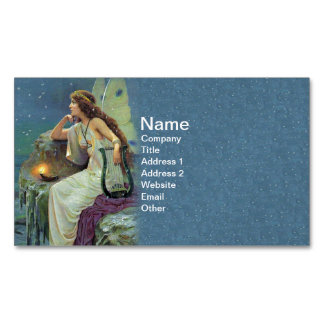 Vintage Pretty Fairy Fae Harp Candle Ocean Magnetic Business Card