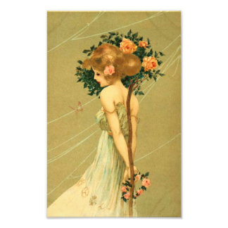 Vintage Pretty Girl With Pink Roses and Butterfly Photograph