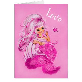 Vintage Pretty Mermaid Pink LOVE Valentine card