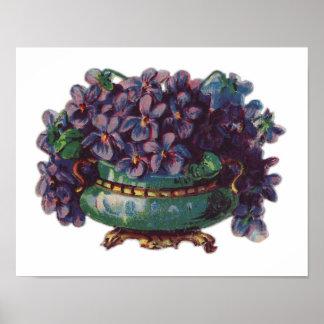 Vintage Pretty Pansy Bouquet Print