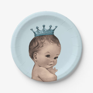 Vintage Prince Baby Shower Blue 7 Inch Paper Plate