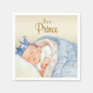 Vintage Prince Blue Gold Baby Shower Paper Napkins