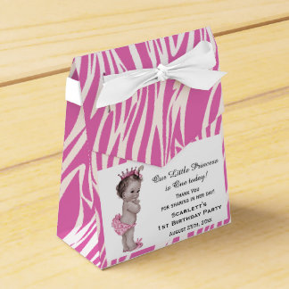 Vintage Princess Baby Birthday Pink Zebra Pattern Favor Box
