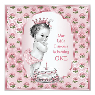 "Vintage Princess Baby Pink Roses 1st Birthday Cake 5.25"" Square Invitation Card"