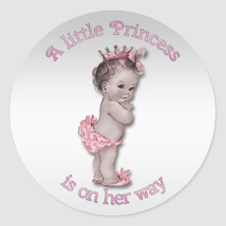 Vintage Princess Baby Shower Classic Round Sticker