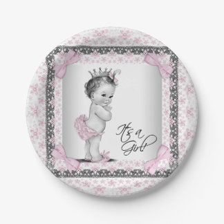 Vintage Princess Baby Shower Paper Plate