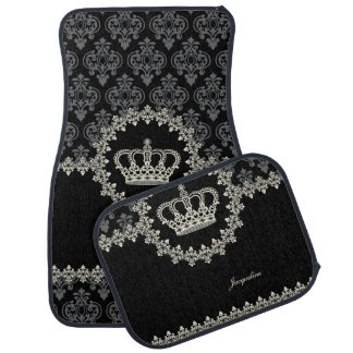Vintage Princess Damask Crown Car Mat