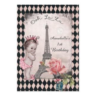 "Vintage Princess Eiffel Tower Baby 1st Birthday 5"" X 7"" Invitation Card"