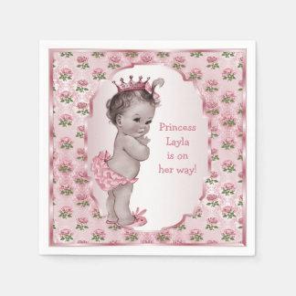 Vintage Princess Pink Roses Baby Shower Disposable Napkins