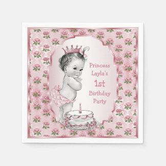 Vintage Princess Roses 1st Birthday Cake Pink Paper Napkin