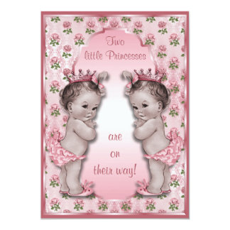 """Vintage Princess Twins and Pink Roses Baby Shower 5"""" X 7"""" Invitation Card"""